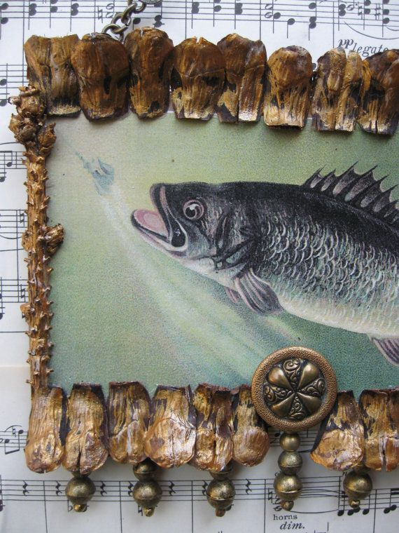 Vintage Fish Print Ooak Cabin Decor Lake Cottage Decor Lodge Deco