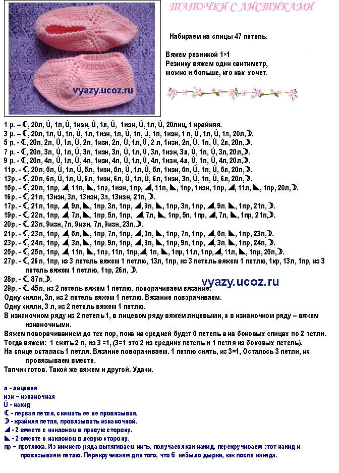Вязание на спицах тапочки со схемой 408