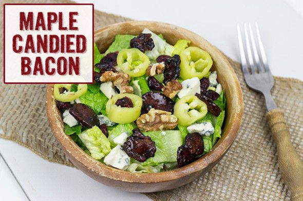 Maple Candied Bacon Topped Salad from @David Dial | Spiced