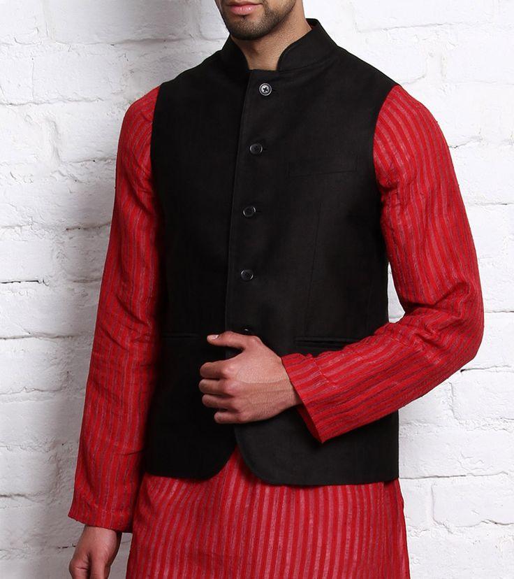 Black Tussar Cotton Nehru Jacket | Clothes for Him | Pinterest