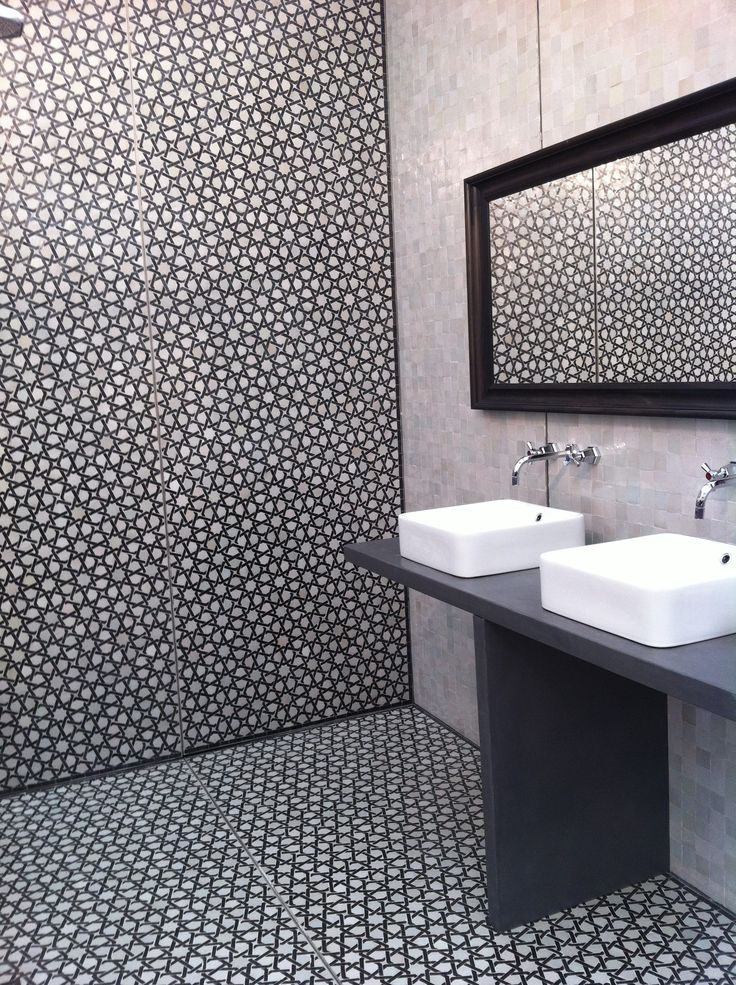 Monochrome Moroccan Style Bathroom Tiles Home Inspiration