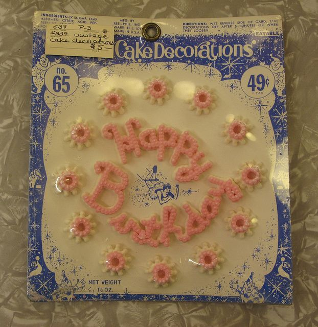Vintage Happy Birthday cake decoration