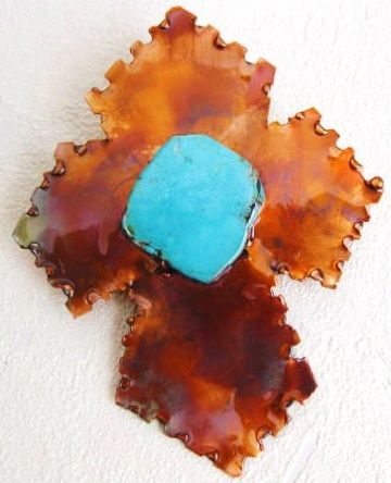Pendant, Copper Cross with Turquoise Stone by brokenwingdesigns for $85.00