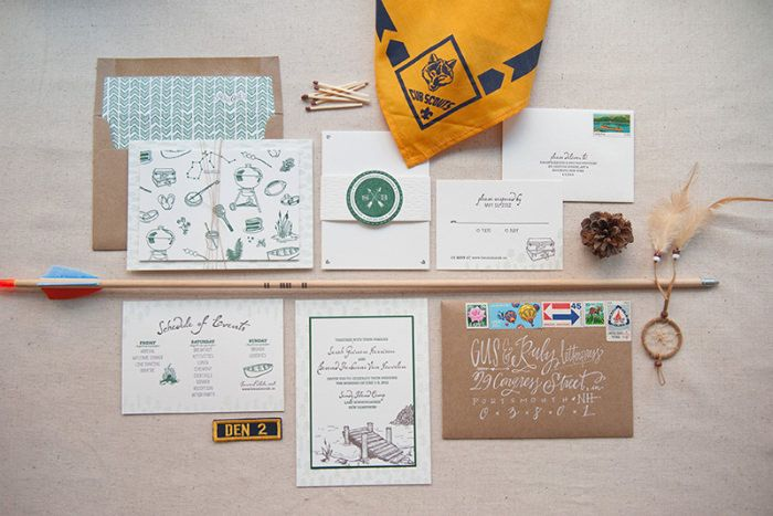 Summer camp inspired wedding suite. Source: oh so beautiful paper #weddingstationery #camptheme