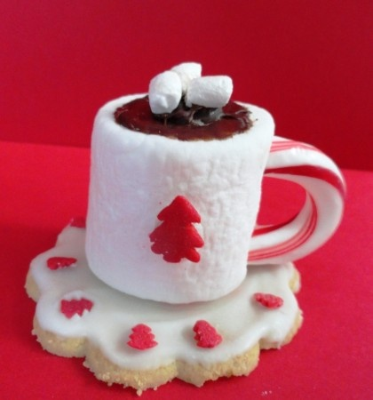 Hot Cocoa Marshmallow made from store-bought cookie, large marshmallow, meltied chocolate, and candy cane.