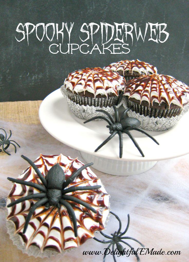 Spooky Spider Web Cupcakes | Eats - Holiday treats | Pinterest