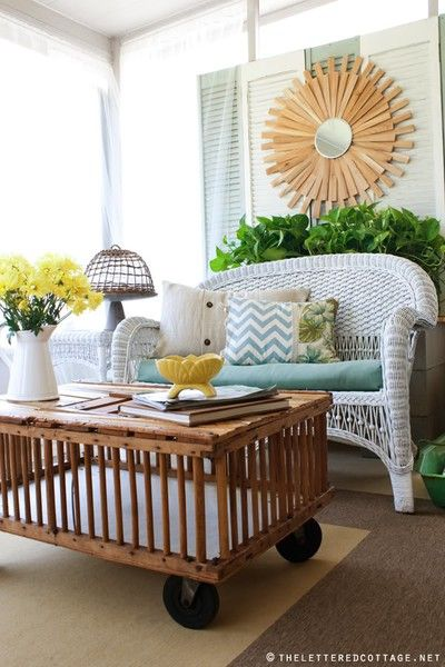 stunning porch space. DIY done right! - DIY sunburst mirror - via the lettered cottage