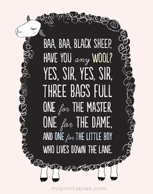 DIY - Free Baa Baa Black Sheep printables - perfect for the nursery!