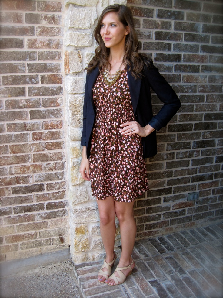 have this dress, but wouldn't have thought to add the navy blazer.  Looks great!  From greaterthanrubies