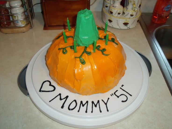 Spice Pumpkin shaped cake that I made for my Mom. I used a bundt cake ...