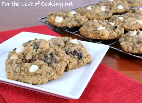 blueberry and cherry oatmeal cookies with white chocolate chips... YUM