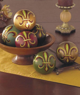 Fleur De Lis Balls For Home Decor Coffee Table 6 Pc
