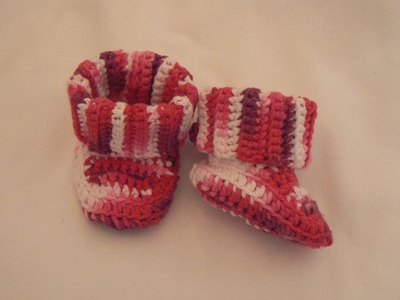 Crochet Cuffed Baby Booties Pattern : Crochet Pattern Baby Booties Ribbed Cuff Booties Digital File
