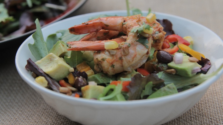 Grilled Shrimp and Avocado Salad with Spicy Cilantro Lime Dressing