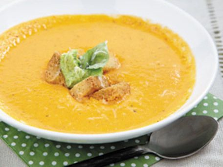 Roasted Tomato & Pepper Soup with Pesto Cream Cheese | Recipe