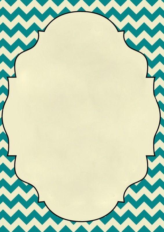 Blank Teal Chevron Invitation | party ideas | Pinterest