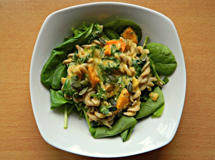 "Vegan butternut squash ""mac n cheeze"" made with buckwheat spirals ..."