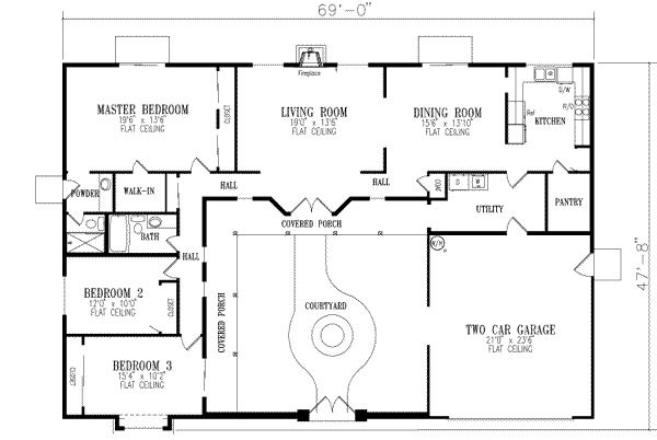 U shaped home house plans pinterest for U shaped home plans with courtyard