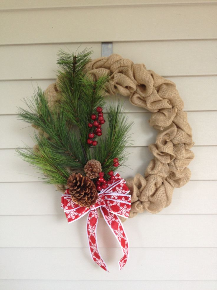 Burlap christmas wreath merry merry pinterest Burlap xmas wreath