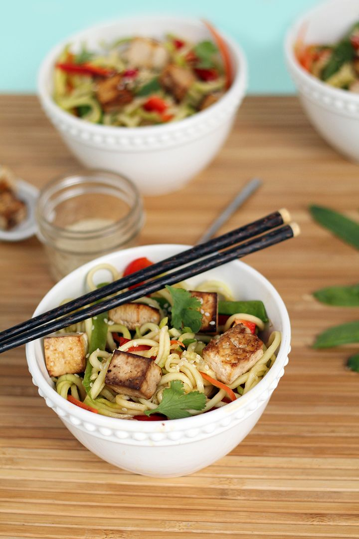 Miso-Ponzu Zucchini Noodles with Tofu | Eat & drink | Pinterest