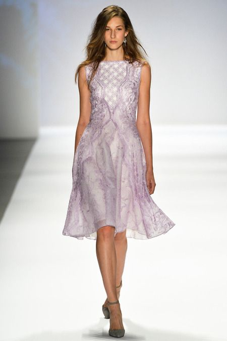 Tadashi Shoji Spring 2014. The designer brings his evening talents to daywear. Pretty blush and black lace dress.
