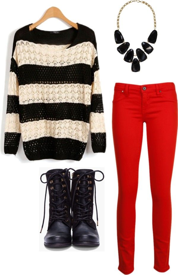 over sized black & white sweater + red pants + black combat boots = fall/winter perfection :)