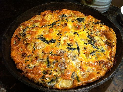 Leek, spinach and blue cheese frittata | Recipes | Pinterest