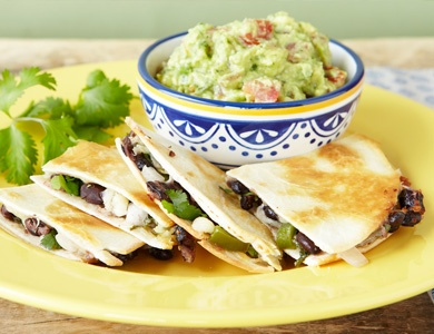 BLACK BEAN QUESADILLAS WITH AVOCADO SALSA Black beans, peppers and ...