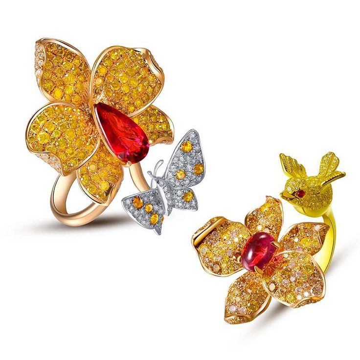 Forever Jewels Allure rings, set with yellow and white diamonds and rubellites.