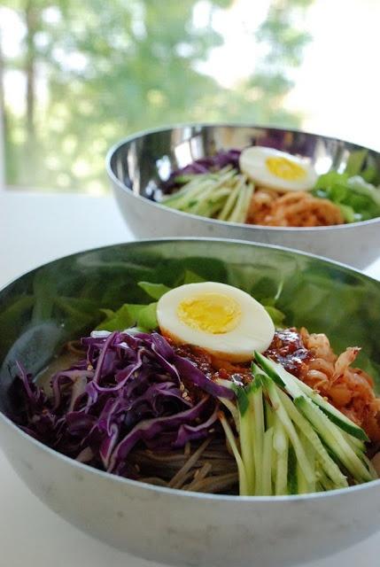 Bibim guksu - Korean spicy cold noodles. | beh go-pah! | Pinterest