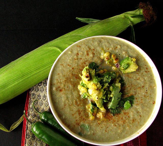 Sweet Corn Soup with Roasted Corn Guacamole by veganiowan1, via Flickr