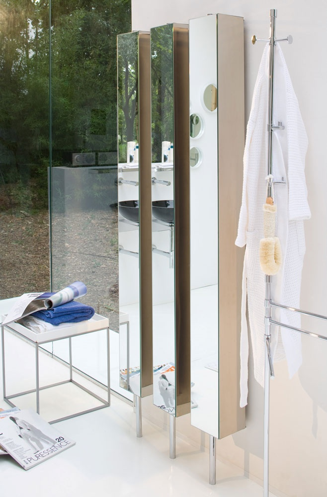pika rotating mirrored bath cabinet