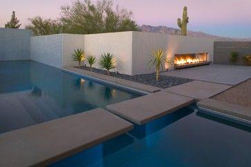 Modern pool by ibarra rosano design architects - Chimeneas minimalistas ...
