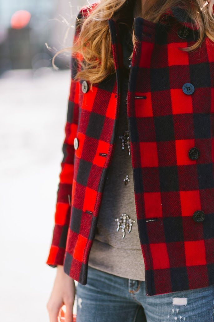 Buffalo plaid with sparkle sweater and ripped jeans