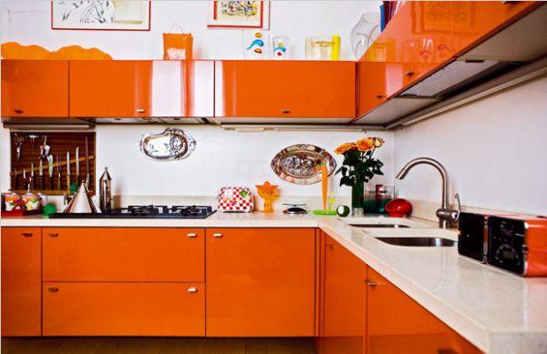 Orange Kitchen Cabinets Accent On Design Blog Pinterest