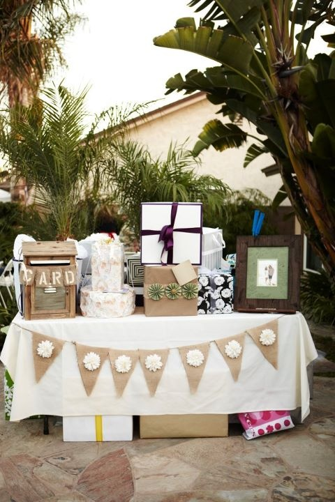 Wedding Gift Table Ideas Pinterest : gift table with banner, pom poms hanging above and chalk board that ...