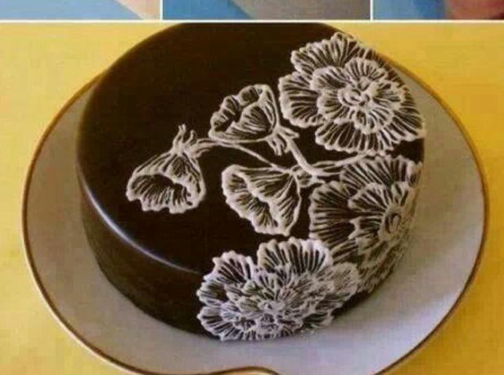Lace decorated cake cake decorating pinterest