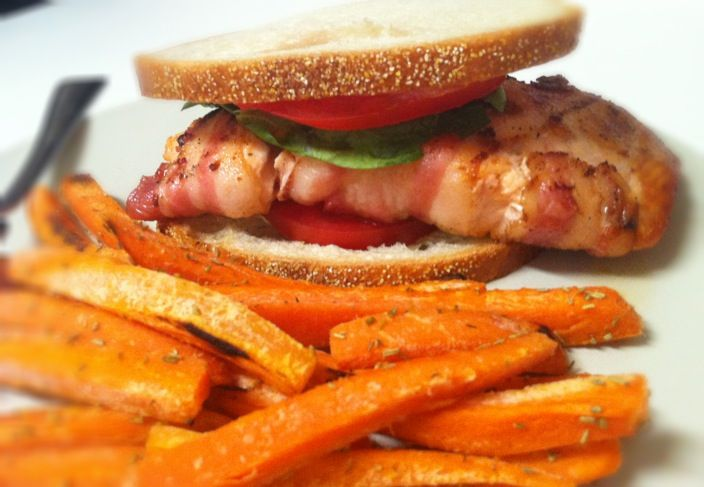 Salmon BLT with oven baked carrot fries | Food Lush | Pinterest