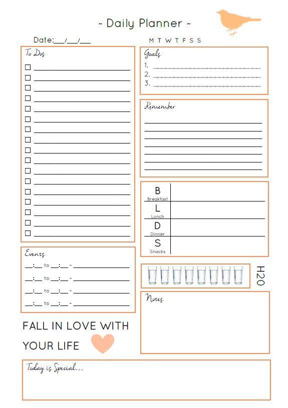 Daily Planner – Printable Editable Blank Calendar 2017