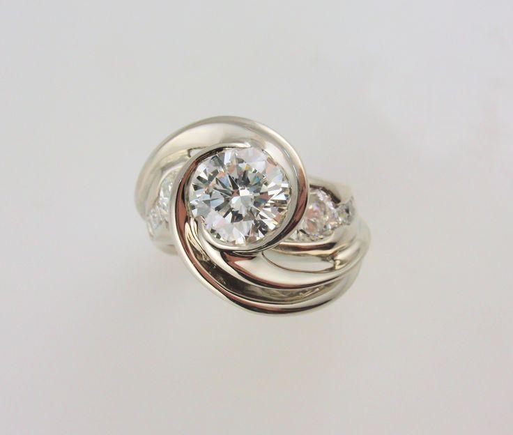 Art Nouveau Diamond Engagement Ring Diamonds & Wedding Rings