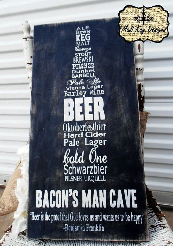 Ideas For Man Cave Signs : Personalized man cave sign on wood or canvas beer