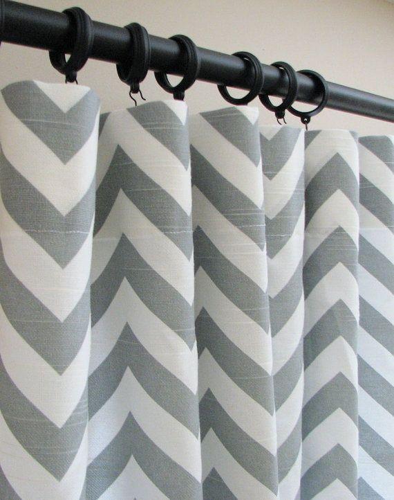chevron print shower curtain | Basement | Pinterest