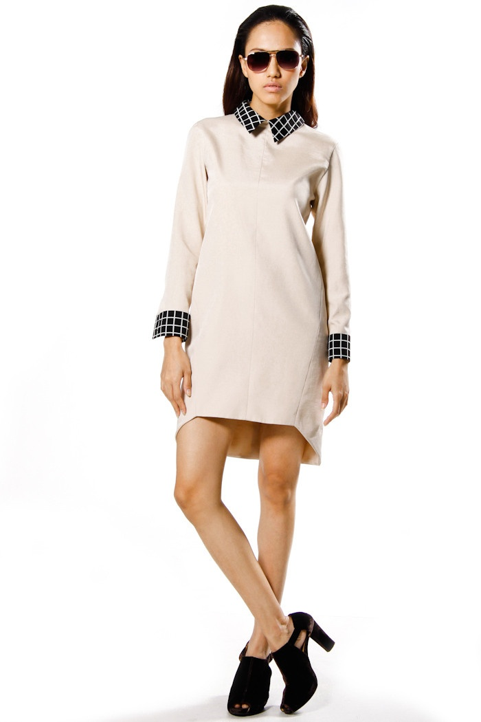 Beige Graphic Cut Dress-Shirt | outfits | Pinterest