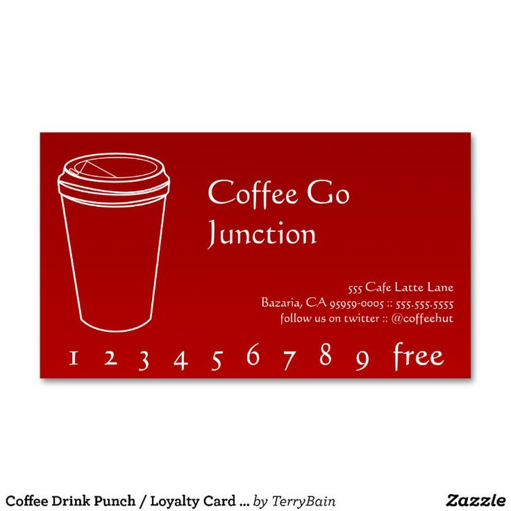 Coffee Drink Punch / Loyalty Card Gradient Red Business Card Template