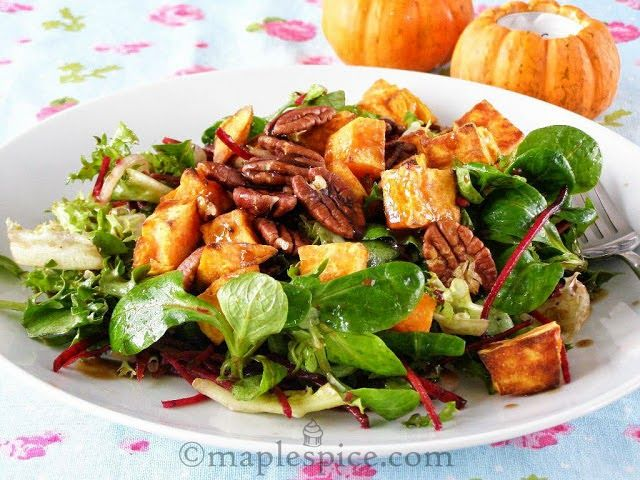 ... Spinach Salad with Sage Roasted Sweet Potato, Walnuts and Almond Feta