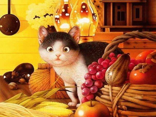 Кошка для декупажа распечатаю на