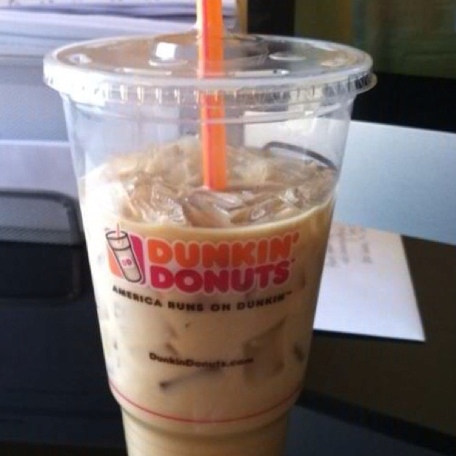 Dunkin donuts blueberry iced coffee with Splenda oh my goodness good ...