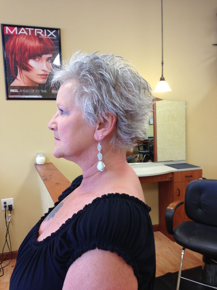 Short, spiky hair do by Stephanie Fuller at Signature Styles Salon in