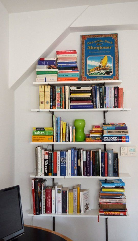 Small space secrets swap your bookcases for wall mounted shelving - Bookshelves small spaces photos ...