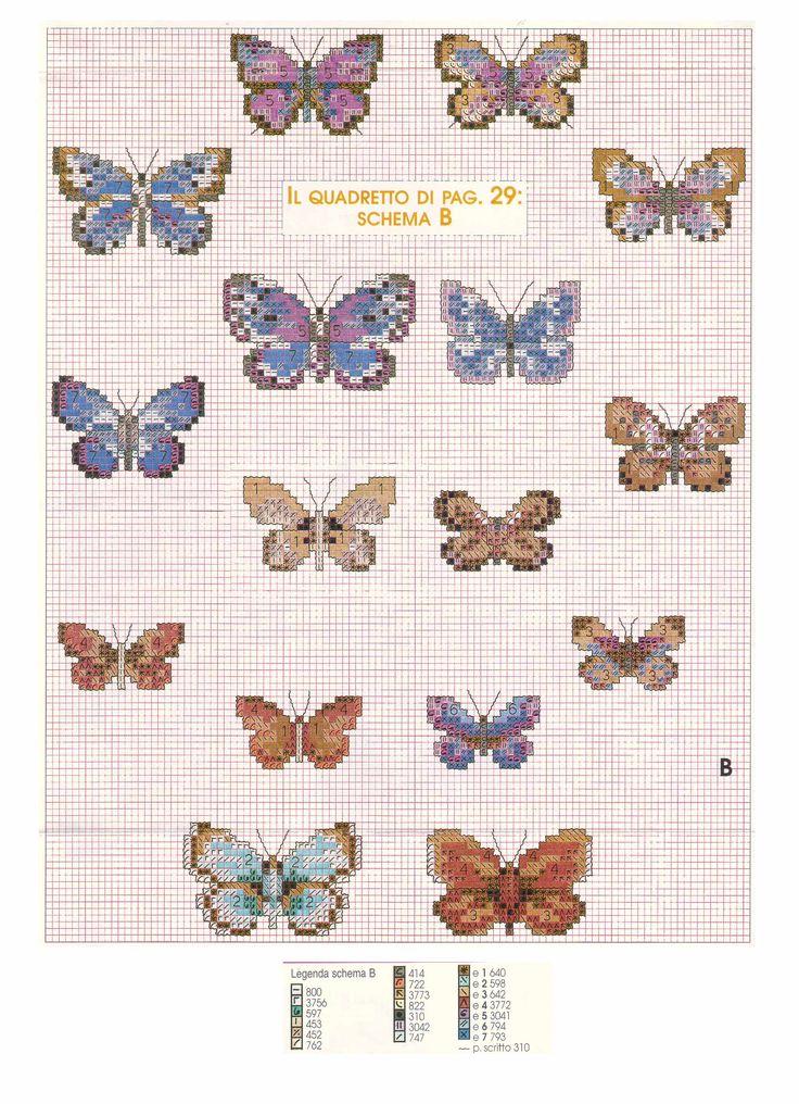Schema punto croce farfalle 10 farfalle pinterest for Farfalle punto a croce